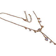 Vintage Rivoli Rhinestone Necklace with Dangling Rhinestone Heart