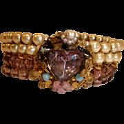 Vintage MIRIAM HASKELL Wrap Bracelet  - Baroque Pearl and Art Glass Bracelet Wire Wrap Bracele