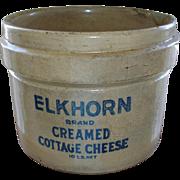 Antique Elkhorn Cottage Cheese Crock - RARE -  BIG Stoneware - Cobalt Blue Lettering