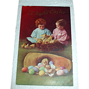 Vintage Easter Holiday Postcard - Children & Chicks
