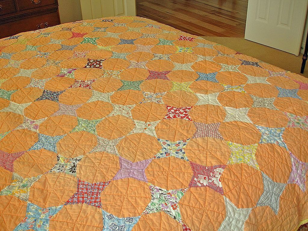 Antique  TWIN SIZE Hand Stitched Quilt - Orange American Handmade Quilt