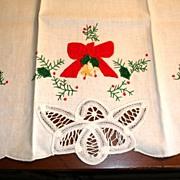 Christmas Tea Towel Excellent Unused Vintage - 100% Cotton Textiles