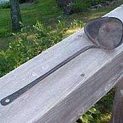 Antique  Primitive Iron  Ladle / Strainer  /  Scoop