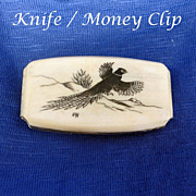 SOLD Carved Pheasant - Money Clip and Knife
