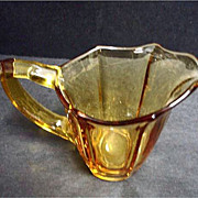 SALE PENDING Vintage Deep Yellow Glass Creamer - Amber Glass Creamer