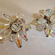 Vintage Crystal Glass Cluster Drop Earrings - Vintage Crystal Cha Cha Jewelry