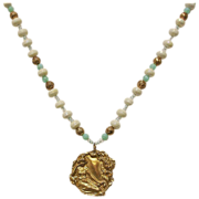 White Crystal & Turquoise Beaded Yellow Gold Tone Necklace with Pendant - Vintage Estate Jewelry