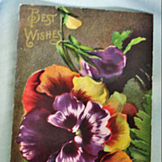 Vintage Unused Floral pansy Postcard -  Best Wishes Greeting Post Card