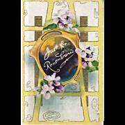 SALE Vintage Embossed Remembrance Greeting Postcard- Art Nouveau Design Post Card
