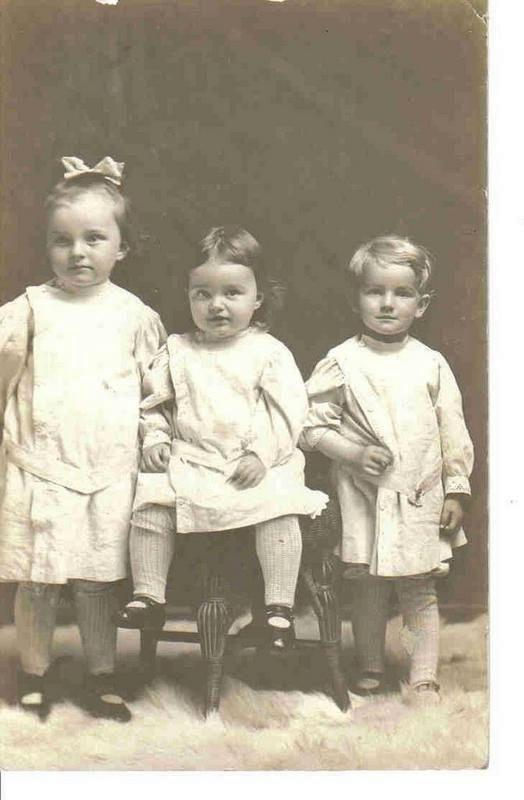 Antique Real Photo Postcard - 3 Children