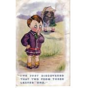 Vintage Humorous Children Greeting Postcard