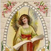 SOLD Vintage Embossed Easter Greeting Postcard - Angel Post Card