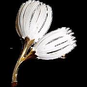 Vintage Enamel Thistle Brooch Pin