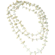 """SALE Vintage Necklace - Long 54"""" - White Bead and FAUX Mother of Pearl"""