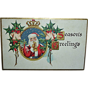 Antique Embossed Santa Postcard - Vintage Santa Claus Post Card Seasons Greetings