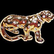 Vintage Rhinestone Big WILD Cat - Panther or Leopard Brooch