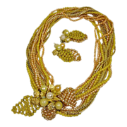Vintage Hattie Carnegie Torsade Demi Parure- Necklace and Earrings Set