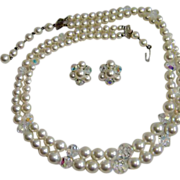 Vintage LAGUNA Glass Pearls & AB Crystal Beads Necklace and Earrings Set – Vintage Laguna Demi Parure Jewelry