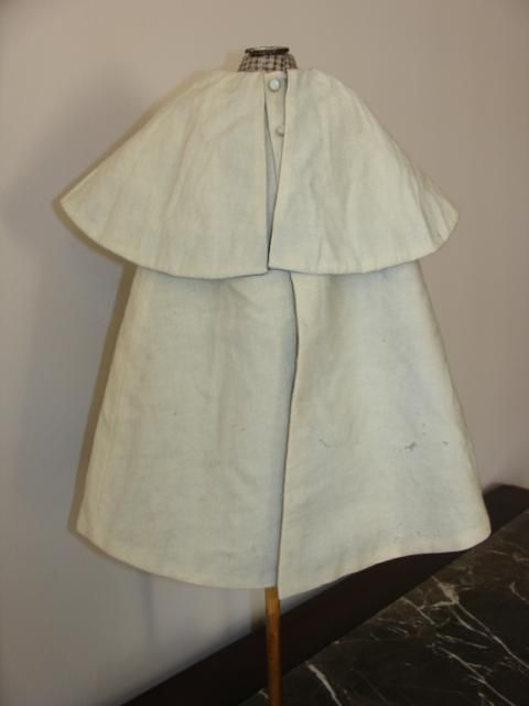 Antique French Fashion Cream Wool Cape with Light Blue Silk Lining