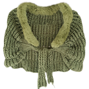 SOLD Green Capelet/Caplet with Dyed Genuine Rabbit Fur Collar