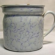 French Enamel Cream / Milk Warmer Jug with Strainer, 1920's