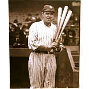 REDUCED Babe Ruth 8 x 10 with 3 bats