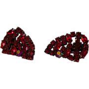 SALE Ruby Rhinestone Aurora Clip Earrings Large