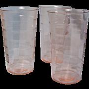 "SALE Block Optic Water Pink Depression tumbler Flat 5""  set of 3"