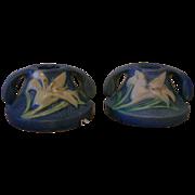SALE Roseville Candle Holder Zephyr Lily Blue Pair