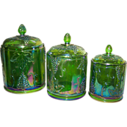SALE Canisters Indiana  Harvest Grape Green set of 3