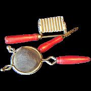 SALE Kitchen tools set of 3 Red handled Sieve peeler slicer