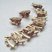 Colco Oriental Figures Faux Ivory Bracelet, Earrings