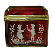 "Antique Bohemian  Cranberry Hinged Box. ""Mary Gregory """