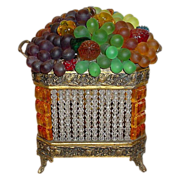 "SOLD Czech Glass Fruit Double Handle Lamp "" Rarest Amber and Crystal Basket"""