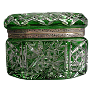 Antique  Bohemian Green Cut to Clear Box Casket