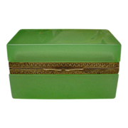 Pretty Antique French Green Opaline Hinged Box