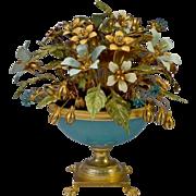 "SOLD Jane Hutcheson Jeweled Blue Opaline Enamel Flowers  ""Paw Foot ""   1M000118 B"