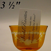 SOLD Antique Amber Cut to Clear Card Holder