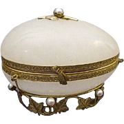 "Rare French Jeweled Onyx Casket Hinged Box "" PEARLS"""