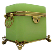 SALE Spectacular Antique French Green  Opaline Double Handle Casket Hinged Box