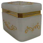 "Antique French White Opaline Casket  ""Exquisite  Gilding"""