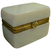 "Antique French Bulle de Savon Opaline Casket Hinged Box ""FAB Flower Clasp"""
