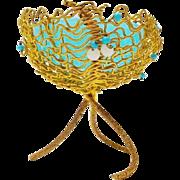 Grandest Palais Royal Jeweled Bowl Blue Opaline Compote