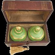 "SALE Grandest Antique French Scent Casket ""Awesome BIG Green Opaline Scents Bottles"""