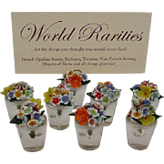 "SOLD 8 Czech Glass Flowers Place Card Holder Set ""Precious"""