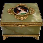 "SALE Antique French Onyx Gilt Bronze Jewelry Casket Box  ""Enamel Miniature Portrait Plaqu"