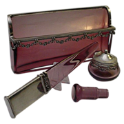 """SALE Magnificent Antique French Lavender  Crystal  Silver Desk Set """"Four Piece Set"""""""
