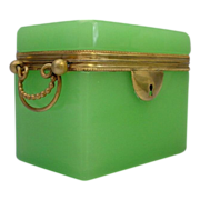 """SALE Antique French Green Opaline Double Handle  Casket Hinged Box  """"RARE GREEN"""""""