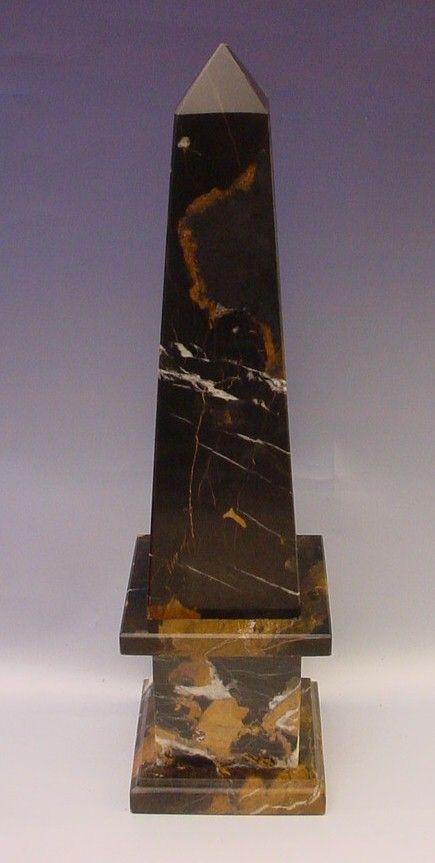 Italian Classical Style Mottled Black Marble Obelisk From