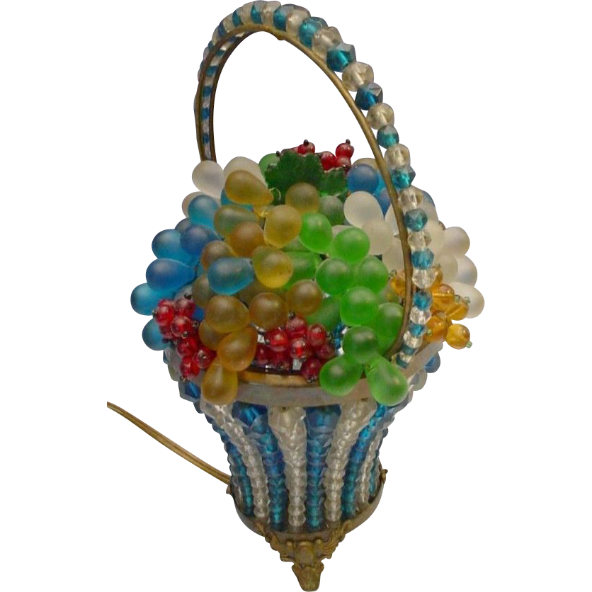 """Czech Glass Fruit Basket Lamp """"Turquoise and Crystal Basket with Handle"""""""